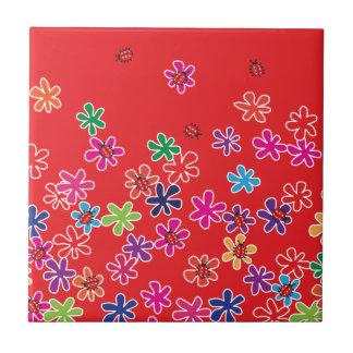 Retro Ladybugs and flowers Tile