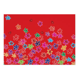 Retro Ladybugs & Flowers Poster
