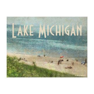 Retro Lake Michigan Beach Premium Wrapped Canvas Canvas Prints