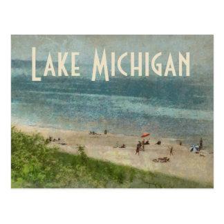 Retro Lake Michigan Shoreline Beach Postcard