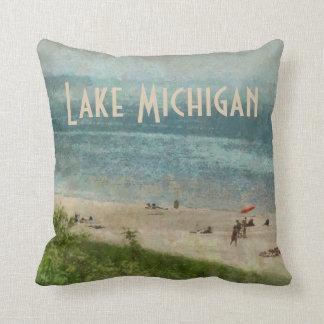 Retro Lake Michigan Shoreline Beach Throw Pillow Cushion