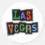 Retro Las Vegas Neon Round Sticker