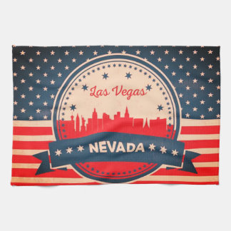 Retro Las Vegas Nevada Skyline Tea Towel