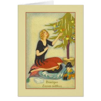 Retro Latvian Christmas Greeting Card