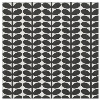 Retro Leaf Pattern, 1950's Flora, Black and White Fabric