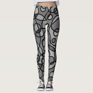 Retro Leggings Black Grey Geometric