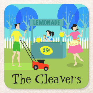 Retro Lemonade Stand Paper Coaster Square Paper Coaster