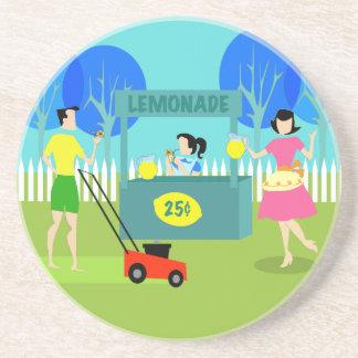 Retro Lemonade Stand Sandstone Coaster