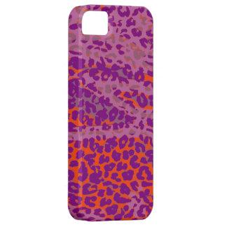 Retro Leopard Print Skin (Orange, Purple) Barely There iPhone 5 Case
