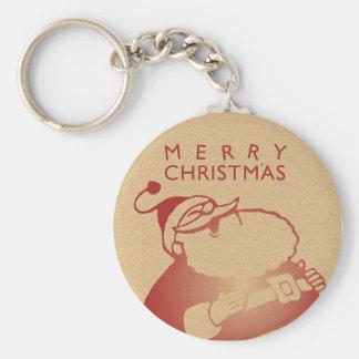 Retro Letterpress Santa Basic Round Button Key Ring