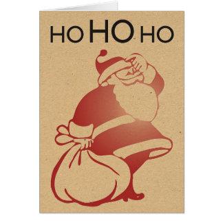 Retro Letterpress Santa Card