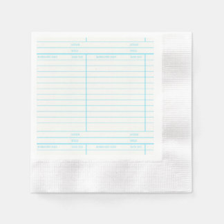 Retro Library Book Date Due Card Disposable Serviettes