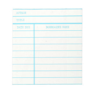 Retro Library Book Date Due Card Notepad