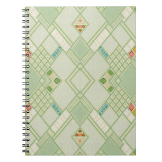 Retro Light Green Geometric Bohemian Tile Pattern Notebook