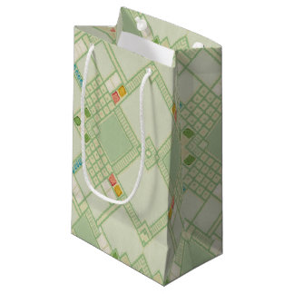 Retro Light Green Geometric Bohemian Tile Pattern Small Gift Bag