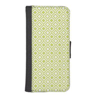 Retro Light Lime Green Geometric Pattern Phone Wallet Case