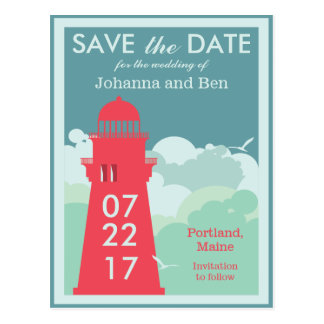 Retro Lighthouse Poster Save the Date Postcard