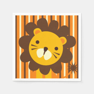 Retro Lion on Stripes Paper Napkins