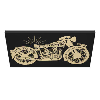 Retro Live To Ride Vintage Motorcycle with Text Stretched Canvas Print