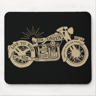 Retro Live To Ride Vintage Motorcycle with Text Mouse Pad