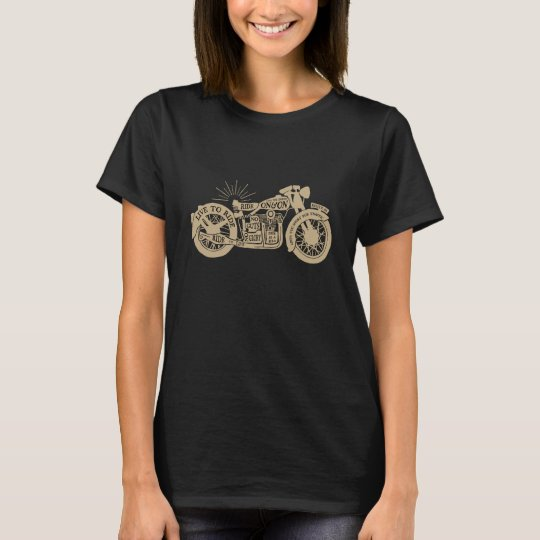 Retro Live To Ride Vintage Motorcycle with Text T-Shirt