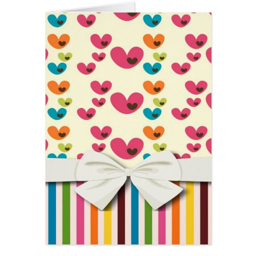 retro lolly valentine love hearts and stripes note card