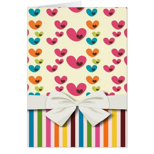 retro lolly valentine love hearts and stripes note card