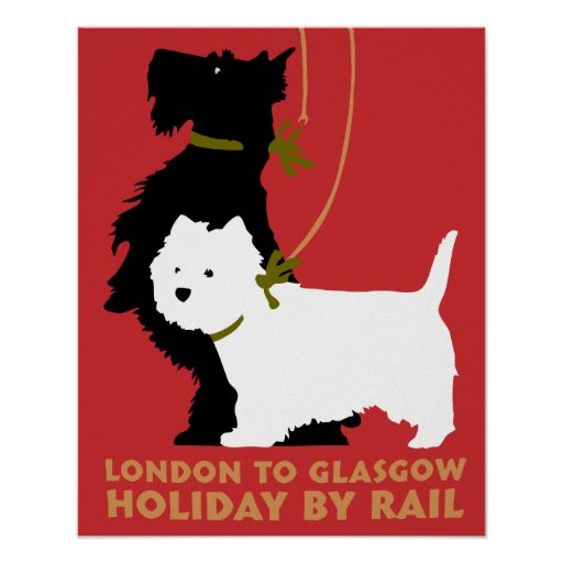 Retro London and Glasgow by train, dogs terriers