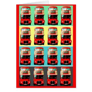 Retro London Bus 4 Rows Card