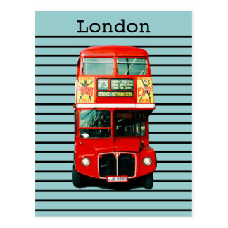 Retro London Bus Peppermint Postcard
