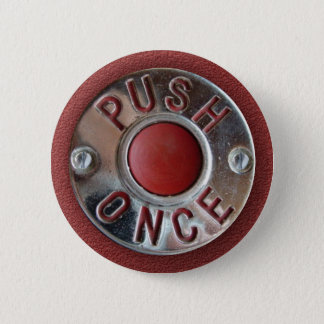 "Retro London Bus ""Push Once"" Stop Request 6 Cm Round Badge"