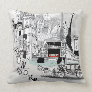 Retro London City Printed Cushion