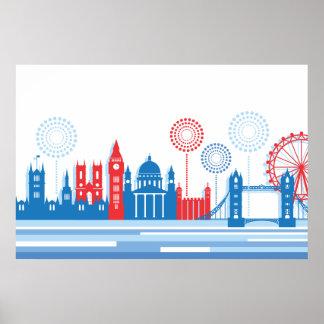 Retro London Skyline with Fireworks Print