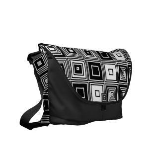 Retro look black white square pattern messenger bag