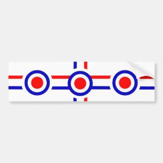 Retro Look Mod Cross Design Bumper Sticker
