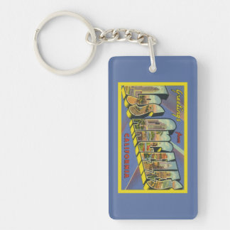 Retro Los Angeles Artwork California Greetings Double-Sided Rectangular Acrylic Key Ring
