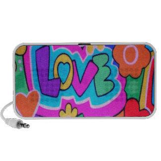 Retro Love Hearts Pattern Doodle Speakers