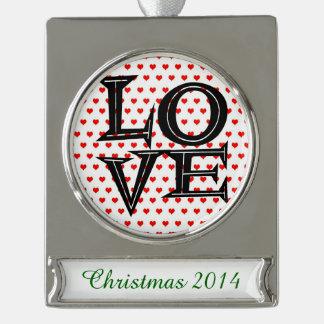 Retro Love on Hearts Silver Plated Banner Ornament