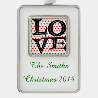 Retro Love on Hearts Silver Plated Framed Ornament