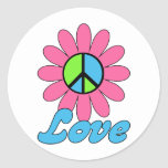 Retro Love Peace Flower Round Stickers