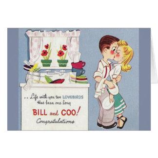 Retro Lovebirds Anniversary Greeting Card