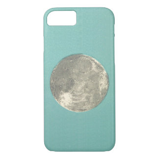 Retro Lunar Moon on Teal Background | Phone Case