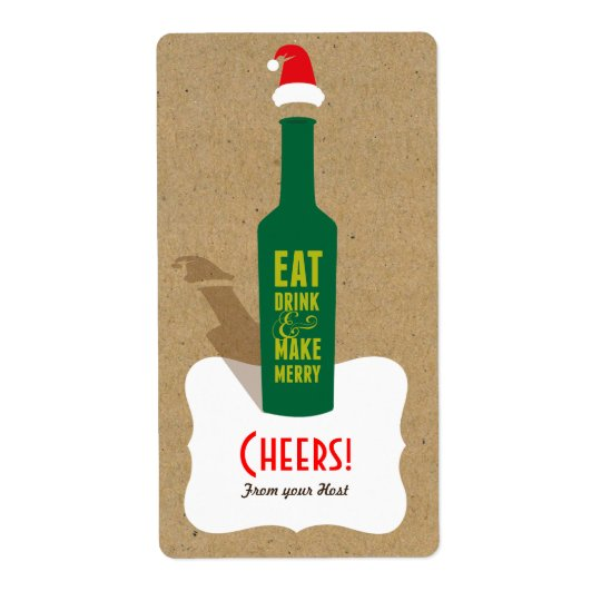 Retro Make Merry Gift Label - Favours, Hostess Shipping Label