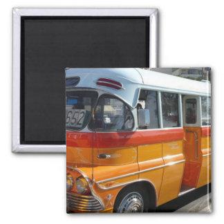 Retro Malta bus Square Magnet