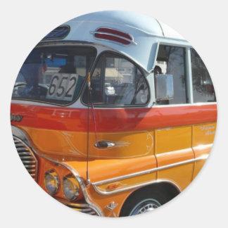 Retro Malta bus Round Sticker