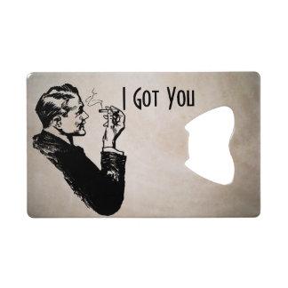 Retro Man Smoking Credit Card Bottle Opener