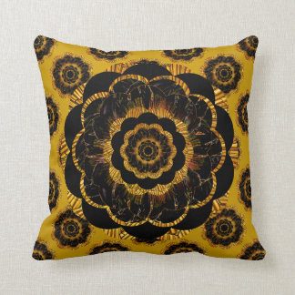 Retro Mandala Hippy Cushion - Black Gold Mustard