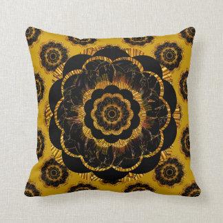 Retro Mandala Hippy Cushion - Black Gold Mustard Pillows