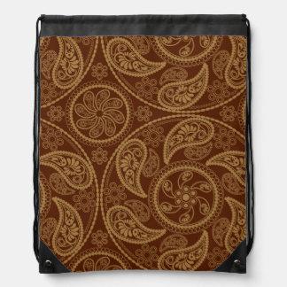 Retro mandala pattern drawstring bag