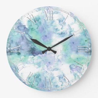 Retro Marble Stone Texture Pattern Large Clock
